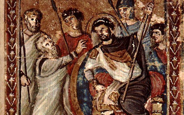 'Moses before Pharoah,'illumination from Syriac Bible of Paris, 6th-7th century CE. (Wikipedia)