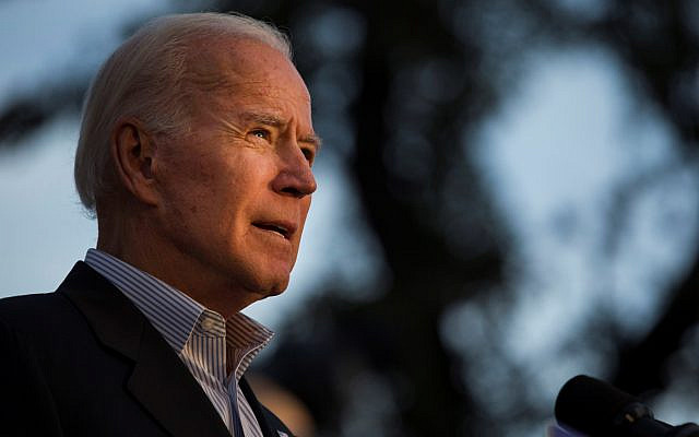 Democratic presidential candidate and former US vice president Joe Biden speaks at a community event. (Daniel Carde/Getty Images, via JTA)