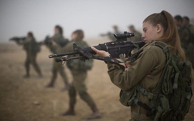 Illustrative. Female soldiers in the IDF, during training, July 13, 2016. (Hadas Parush/ Flash90/ File)