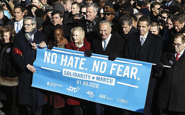 From right: Rep. Jerrold Nadler, Gov. Andrew Cuomo, Sen. Chuck Schumer, Mayor Bill de Blasio and Sen. Kirsten Gillibrand hold a banner at the march against anti-Semitism in New York City, Jan. 5, 2020. (John Lamparski/Echoes Wire/Barcroft Media via Getty Images) As anti-Semitic incidents have increased in New York City as well as the United States, demonstrators held no hate no fear solidarity march. Representatives from various Jewish organisations as well as marchers from around the country joined the New Yorkers to call for an end to religious bigotry.