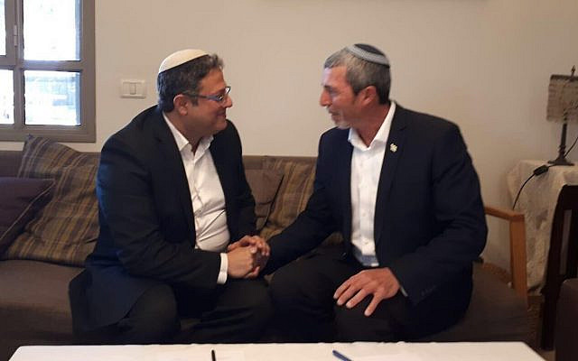 Jewish Home leader Rafi Peretz, right, with Itamar Ben Gvir, left, of the extremist Otzma Yehudit party on December 20, 2019. (Courtesy, via The Times of Israel)