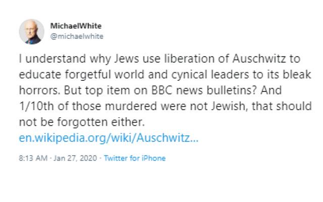 Screenshot of Michael White's tweet (Jewish News)