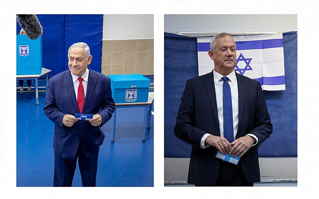 Bibi Netanyahu and Benny Gantz at the polls, but who will come out on top during the third straight election? (Jewish News)