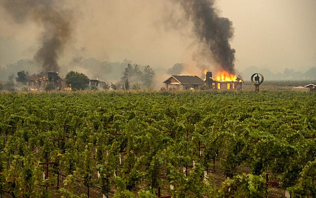 A building is engulfed in flames at a vineyard during the Kincade fire near Geyserville, California, on October 24, 2019. (Josh Edelson / AFP)
