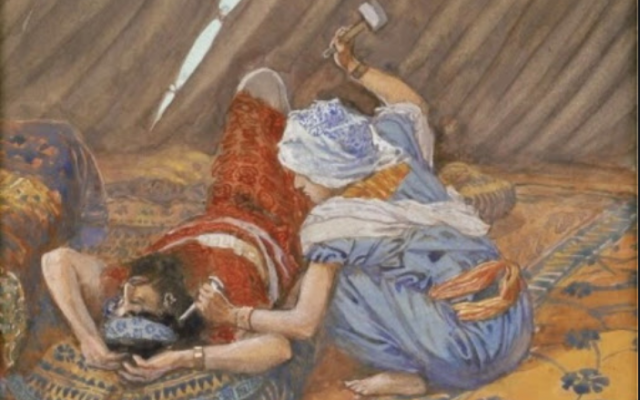 Illustrative. 'Jael Smote Sisera, and Slew Him,' circa 1896-1902, by James Jacques Joseph Tissot. (Wikipedia)