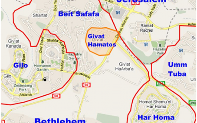 The most eastern part of the most southern part of Jerusalem. Reproduced with kind permission of the copyright holder . NB: There are all kinds of writings and lines on this map which we'll put in place when we describe the situation on the ground (pardon the pun).