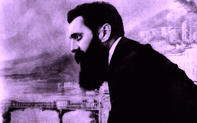 BASEL, SWITZERLAND - AUGUST 29, 1897: Theodore Herzl, the father of modern Zionism, leans over the balcony of the Drei Konige Hotel during the first Zionist congress August 29, 1897, in Basel, Switzerland. Almost 51 years later, on May 14, 1948, the State of Israel was established in the Holy Land. (GPO via Getty Images)
