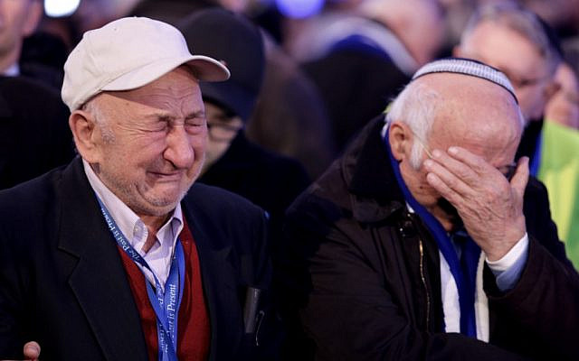 Auschwitz survivor and Brooklyn, New York resident Samuel Beller, born in Oświęcim, Poland, remembers his loved ones during the ceremony marking the 75th anniversary of the liberation of Auschwitz.