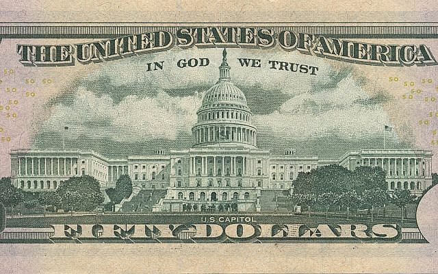 """The US $50 Bill with """"In God We Trust"""" Proudly Displayed Above A Full Picture Of The US Capitol Building located in Washington D.C. It is a reasonable assumption that the US Capitol was the primary target of Flight 93 which failed to reach its target during 9/11 due to the brave heroes that fought the terrorists which resulted in saving a countless number of  lives."""