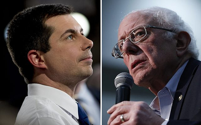 Democratic presidential candidates former South Bend, Ind. Mayor Pete Buttigieg (L) and Vermont Sen. Bernie Sanders. (AP/Andrew Harnik)