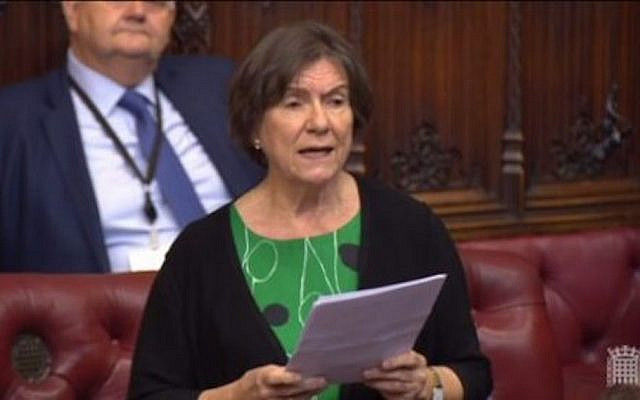 Baroness Tonge speaking in the House of Lords (Screenshot via Jewish News)