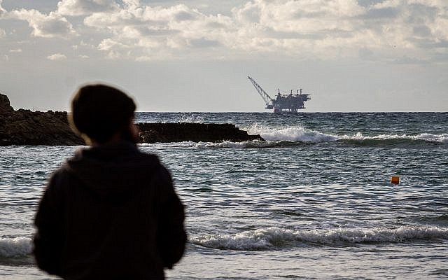 View of the Israeli Leviathan gas processing rig as seen from Dor Habonim Beach Nature Reserve, on January 1, 2020 (Flash90)