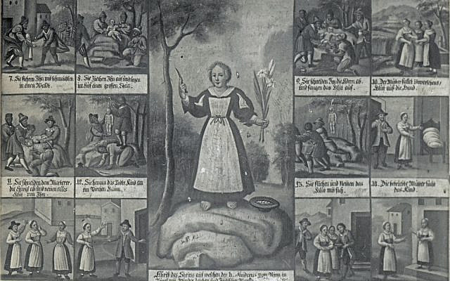 Detail of a postcard depicting and early 19th century painting of a Jewish ritual murder story as depicted in the Church of Judenstein, Austria (PD)