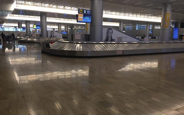 Baggage reclaim at Ben Gurion Airport, the afternoon of Thursday 12th March 2020