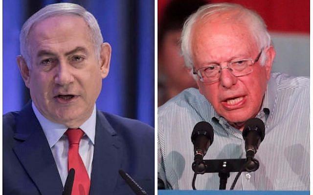 Prime Minister Benjamin Netanyahu, left, and Senator Bernie Sanders (Hadas Parush/Flash90; George Frey/Getty Images)