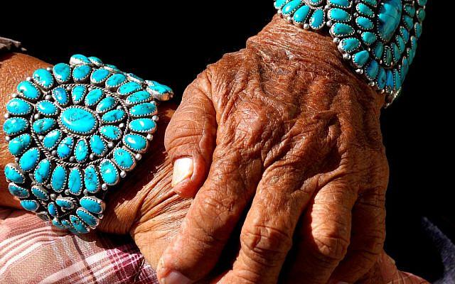 Illustrative. Turquoise bracelets worn by Navajo grandmother. (iStock)