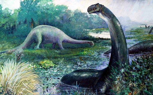 Outdated 1897 restoration by Charles R. Knight of Brontosaurus excelsus submerged in water, and Diplodocus on the bank. (Public Domain/ Wikimedia Commons)