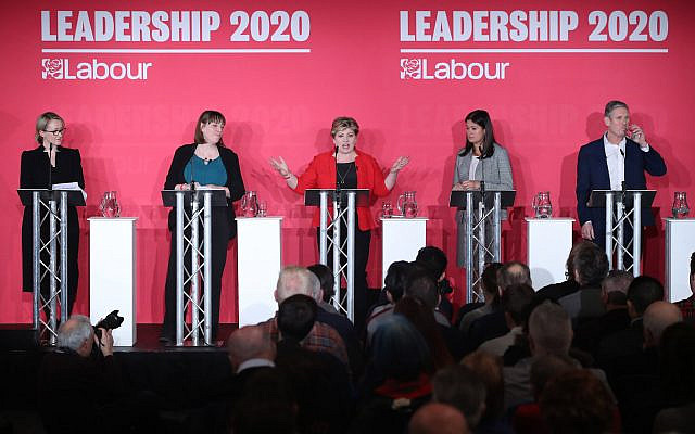 (left to right) Rebecca Long-Bailey, Jess Phillips, Emily Thornberry, Lisa Nandy and Keir Starmer during the Labour leadership husting in January (Photo credit: Danny Lawson/PA Wire via Jewish News)