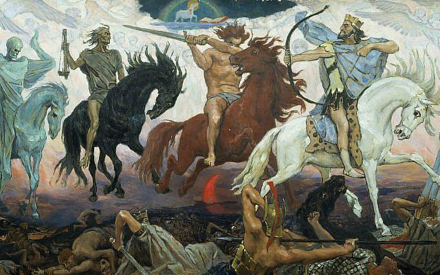 Four Horsemen of Apocalypse, by Viktor Vasnetsov. Painted in 1887. (Wikimedia Commons)