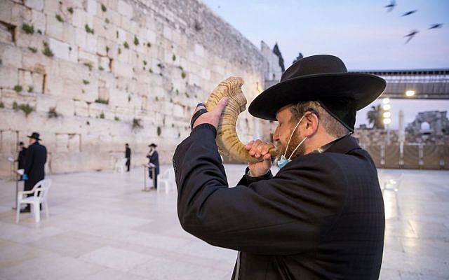 A man prays at the almost empty Western Wall, Judaism's holiest prayer site in the Old City of Jerusalem, April 7, 2020. (Nati Shohat/Flash90)