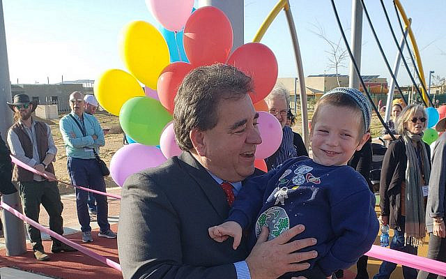 JNF-USA CEO, Russell F. Robinson at the preliminary opening of Halutza's new playground. (JNF)