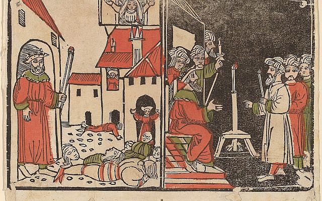 Illustrative. Massacre of the Firstborn and Egyptian Darkness, c. 1490, Spanish hand-colored woodcut. (National Gallery of Art, Washington, Rosenwald Collection, 1943.3.716/Wikipedia)