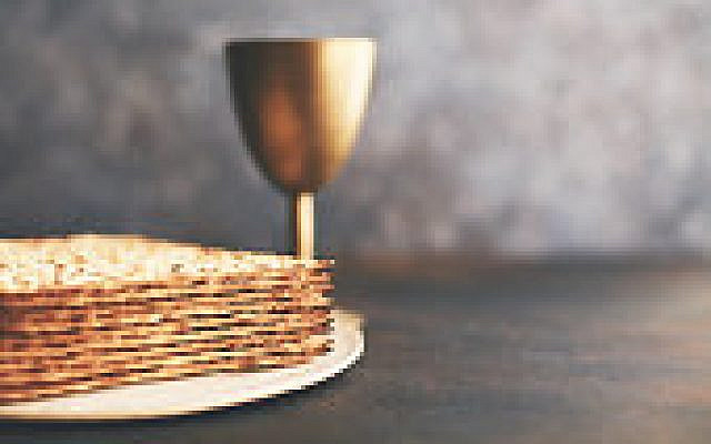 Matzo Crackers with chalice. Still Life with copy space