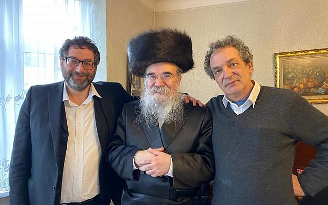 Adrian (left) with Lord Glasman and Rabbi Pinter (centre) taken on Purim just past.