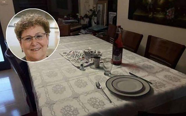Miriam Peretz's table for one. (Facebook)