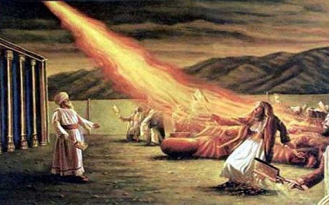 Aaron the High Priest beholds the fire that kills his sons, Nadav and Avhiu. (via YouTube)