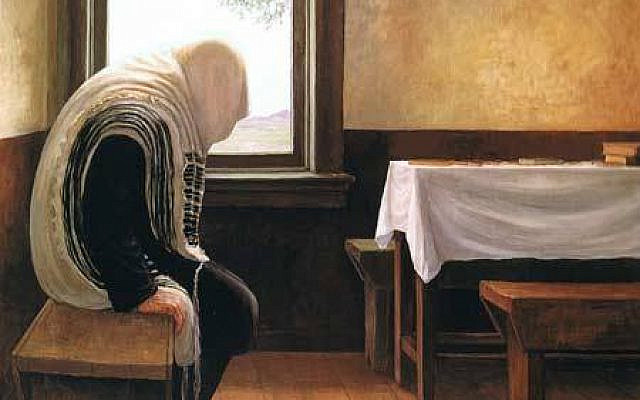 A painting by Chasidic artist Rabbi Zalman Kleinman depicts a Chasid absorbed in prayer. (courtesy)