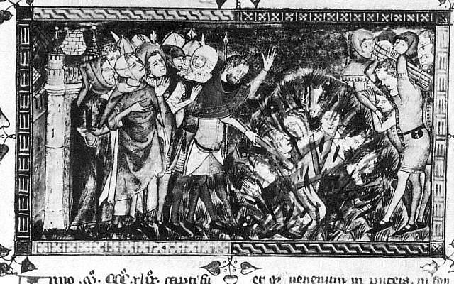 Representation of a massacre of the Jews in 1349. (Wikipedia)