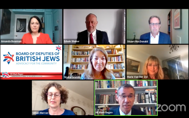 Mark Regev speaking during the Board of Deputies virtual plenary (Board of Deputies plenary via Jewish News)