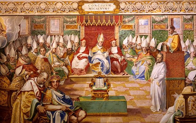 Painting by Cesare Nebbia of Emperor Constantine at the Council of Nicea. (Public Domain/ Wikimedia Commons)