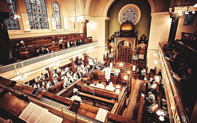 A barmitzvah at Lauderdale Road Synagogue, Maida Vale, London. Credit: Blake Ezra via Jewish News