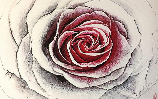 Inna Rogatchi (C). The Thirteen Petalled Rose. Homage to Rav Adin Steinsaltz. The Garment of the Moon series. Lapice pastel, crayons Luminance on authored original archival print on white cotton paper. 30 x 40 cm. 2020.