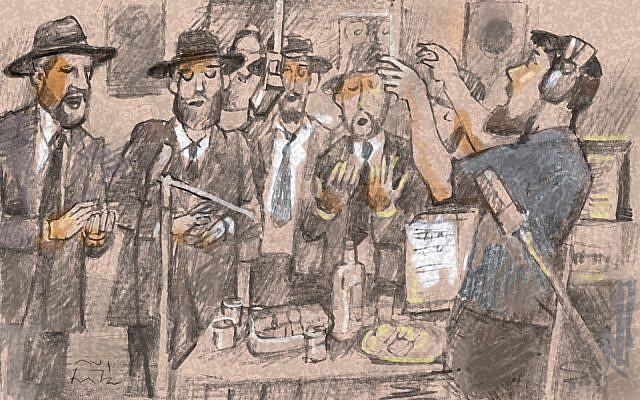 Velvel Pasternak conducting Lubavitch hasidim (Illustration: Avi Katz)