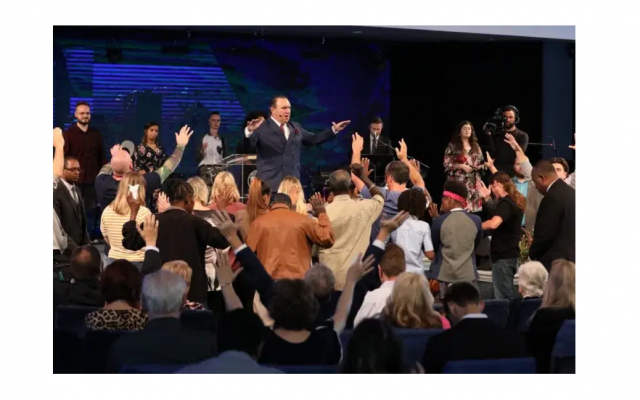 Pastor Rodney Howard-Browne is shown leading a service at the River at Tampa Bay Church in Florida on March 29, 2020. Rev. Howard-Browne was subsequently arrested for encouraging hundreds to attend his megachurch. (courtesy River at Tampa Bay Church)