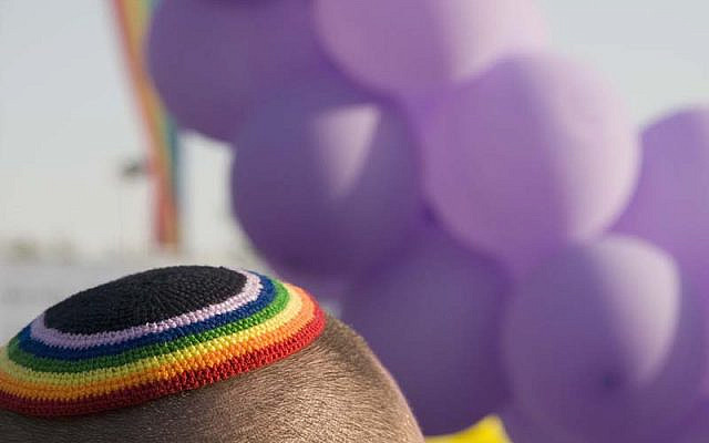 Man wears a rainbow kippa at celebration in Jerusalem, Israel (Jewish News)