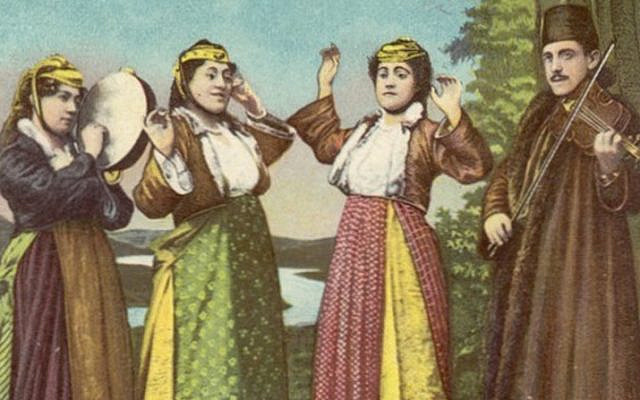 Jewish dancers and musicians in Saloniki, early 20th century (Publisher: Albert Nissim). From the Folklore Research Center at the Hebrew University of Jerusalem, available through the National Library's Digital Collection