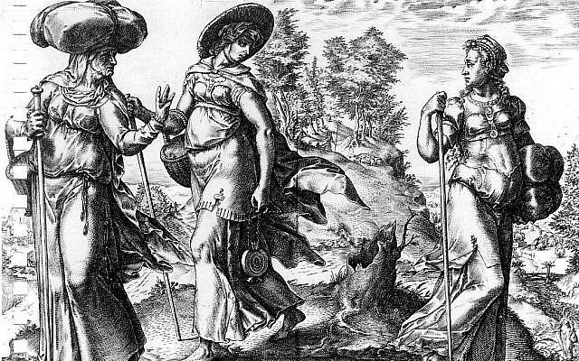 'Orpah Leaving Ruth and Naomi,' by Hendrick Goltzius, 1576, Rotterdam, Museum Boijmans van Beuningen. (Wikimedia Commons)