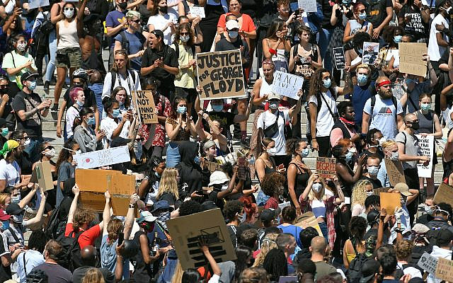 People take part in a Black Lives Matter protest in Trafalgar Square, London, following the death of George Floyd in Minneapolis, US, this week (Photo credit should read: Dominic Lipinski/PA Wire via Jewish News)