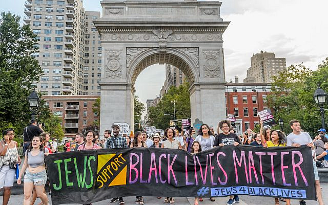 A Jewish vigil in support of Black Lives Matter in New York City. (Erik McGregor/ Pacific Press/ LightRocket via Getty Images)