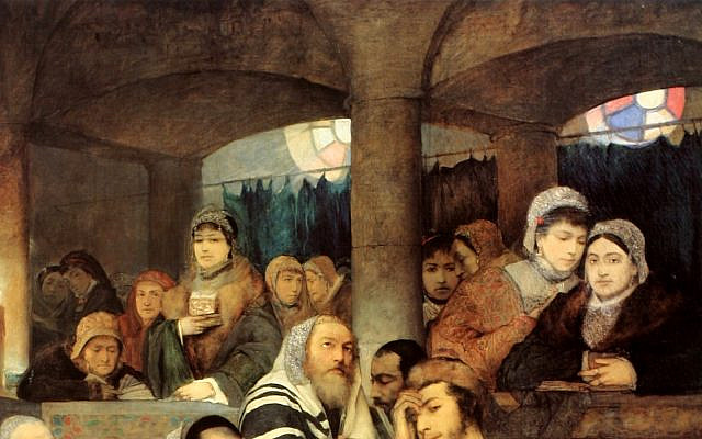 Women's gallery in a detail from the 1878 painting, 'Jews Praying in the Synagogue on Yom Kippur,' by Maurycy Gottlieb. (Wikipedia)