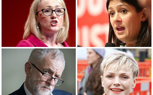 Rebecca Long-Bailey, Lisa Nandy, Jeremy Corbyn and Maxine Peake (Jewish News)