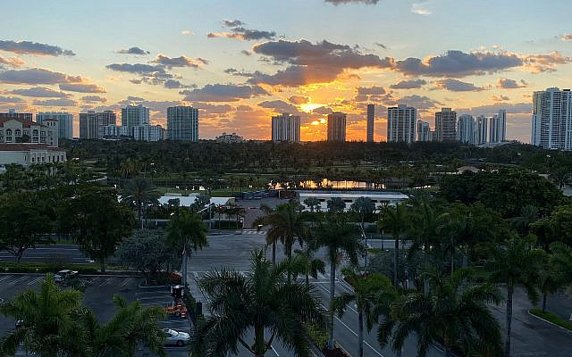The beginning of another day, the time between sunrise and daylight. Aventura, Florida, April, 2020