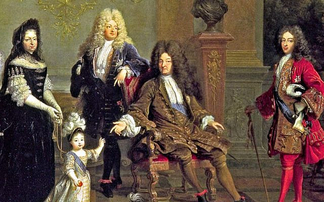 Louis XIV (seated) with his son le Grand Dauphin (to the left), his grandson Louis, Duke of Burgundy (to the right), his great-grandson Louis Duke of Anjou, and Madame de Ventadour, Anjou's governess. (Public Domain/ Wikimedia Commons)