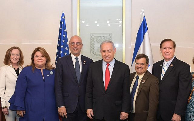 Prime Minister Benjamin Netanyahu meets with a bipartisan US Congressional delegation led by US Rep. Ted Deutch (D-FL). July 1, 2019 (Amos Ben Gershom / GPO)