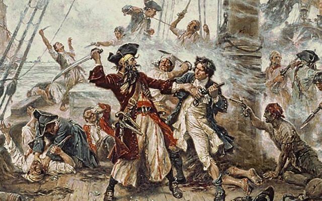Capture of the Pirate, Blackbeard, 1718, Jean Leon Gerome Ferris, painted in 1920. (Public Domain/ Wikimedia Commons)