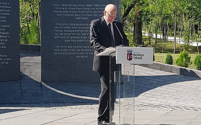 Israeli Ambassador to Albania, Noah Gal Gendler, speaking at the inauguration of a memorial event in Tirana, July 2020. Photo courtesy of MFA.